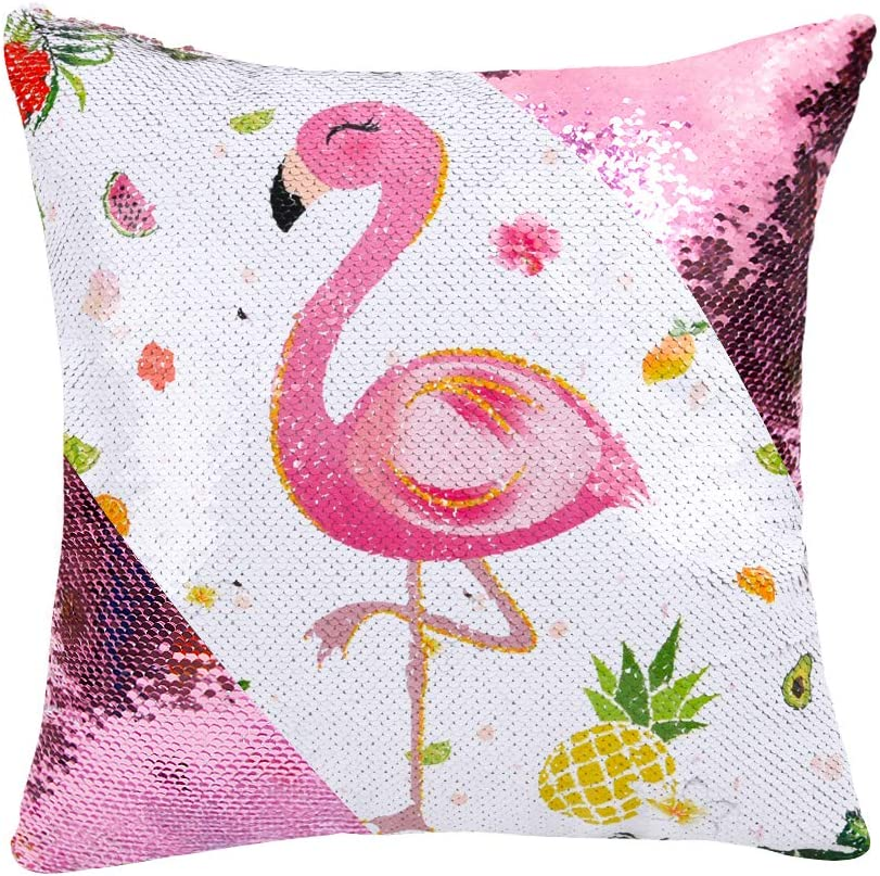 WERNNSAI Sequins Flamingo Pillow Covers - 16 x 16 Inch Set of 2 Pink Mermaid Decorative Cushion Covers Flowers Pineapple Throw Pillow Cases for Sofa Chair(NO Pillow Inserts)