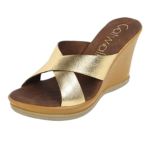 51d44b092 Catwalk Gold Wedges Sandals for Women s  Buy Online at Low Prices in India  - Amazon.in