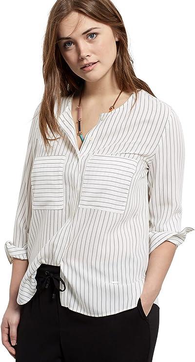 VIOLETA BY MANGO -Blusa de rayas, bolsillos en el pecho Mujer Blanco blanco 44: Amazon.es: Ropa y accesorios