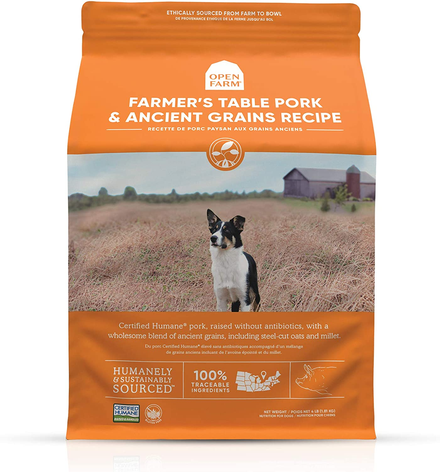 Open Farm Farmer's Table Pork & Ancient Grains Dry Dog Food, Humane Pork Recipe with Wholesome Grains and No Artificial Flavors or Preservatives, 22 lbs