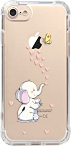 JAHOLAN iPhone 7 Case, iPhone 8 Case Amusing Whimsical Design Clear Bumper TPU Soft Case Rubber Silicone Cover for iPhone 7 iPhone 8 - Cute Elephant