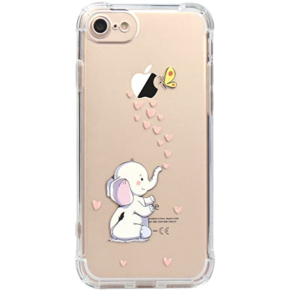 size 40 c1742 c96e0 JAHOLAN iPhone 7 Case, iPhone 8 Case Amusing Whimsical Design Clear Bumper  TPU Soft Case Rubber Silicone Cover for iPhone 7 iPhone 8 - Cute Elephant