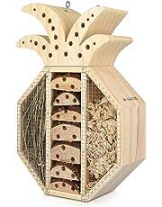 Navaris Hôtel à Insecte Bois - Cabane abri Forme Ananas 21,5 x 32 x 8 cm - Maisonnette Refuge Abeille Coccinelle Papillon Autres Insectes Volants
