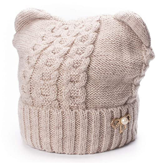 Amazon.com  Winter Hats Skullies Bow Brooch Wool Blend Hat Soft Warm ... 6e1d1835599