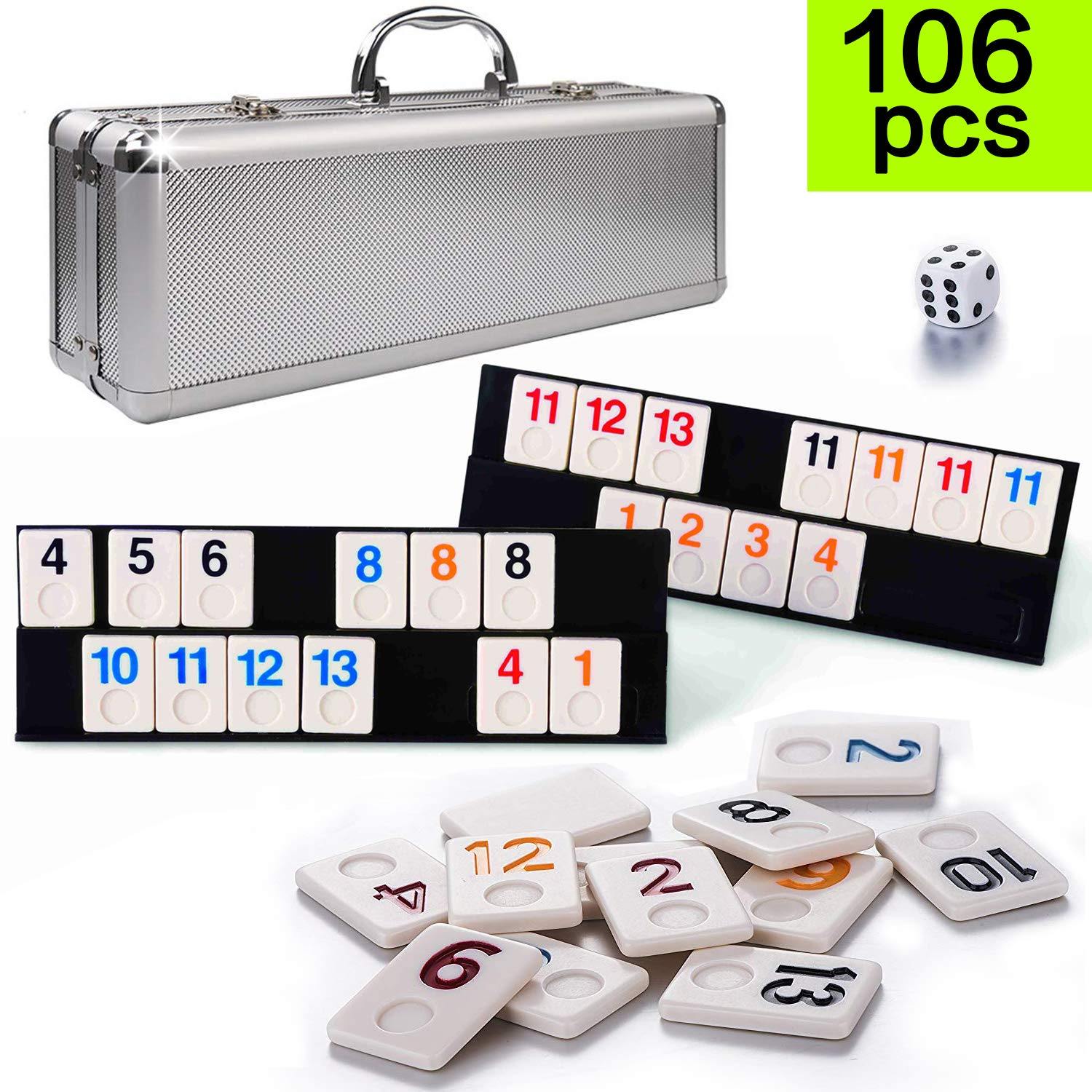 106 Tiles Travel Rummy Game - Tocebe Rummy Tiles Game with Aluminum Case & 4 Anti-Skid Durable Trays for Kids by Tocebe