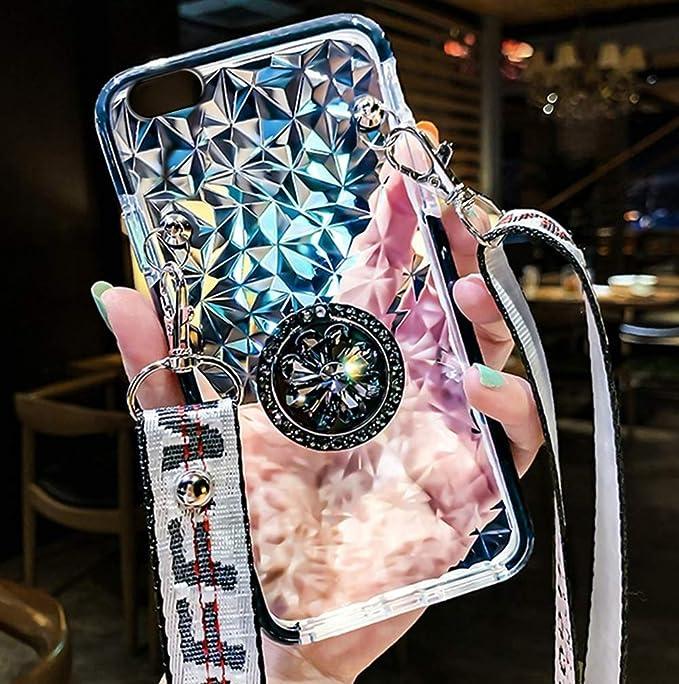 Uposao Compatible con iPhone 8/iPhone 7 4.7 Funda de teléfono móvil cadena de teléfono móvil funda con brillantes Bling Strass anillo soporte de ...