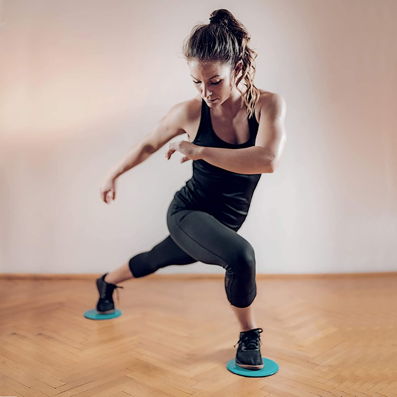 VELOVITA Slider Discs Yoga Retreat /• Set da 2 /• Doppi Dischi di Scorrimento /• per Pavimenti in Legno e Moquette /• Gym /& Home Workout Equipment /• Fitness Pads per lallenamento di Tutto Il Corpo