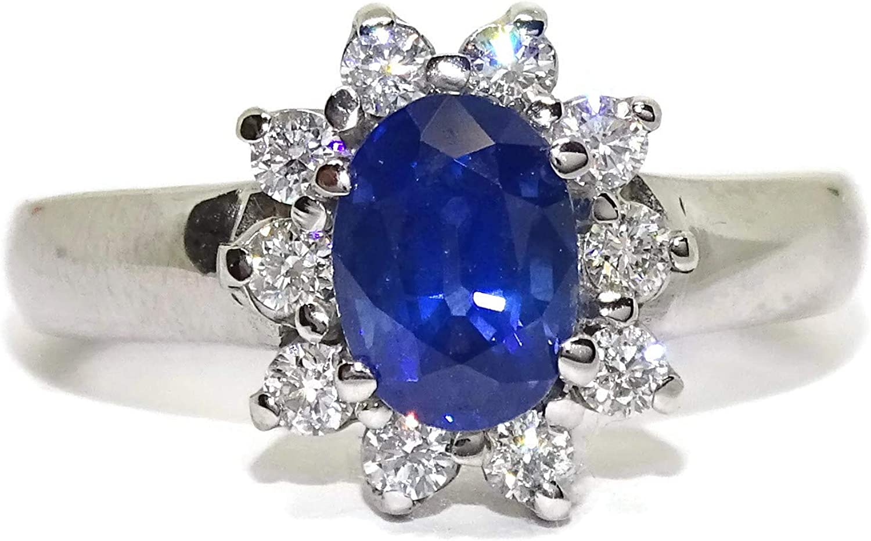 Never Say Never Anillo de Oro Blanco de 18k con un Zafiro de 1.57cts y 10 Diamantes de 0.50cts Alrededor.