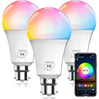 HaoDeng WiFi LED Smart Bulb - Dimmable, Multicolor, Tunable White (Color Changing Disco Ball Lamp) - 9W A19 B22(80W…