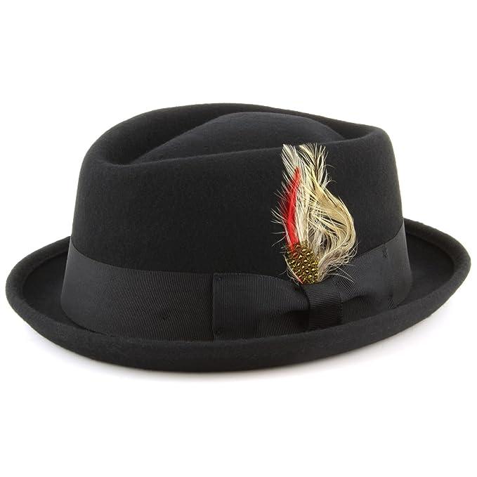 Black 2 Sizes Maz 100/% Cotton Diamond Pork Pie Hat
