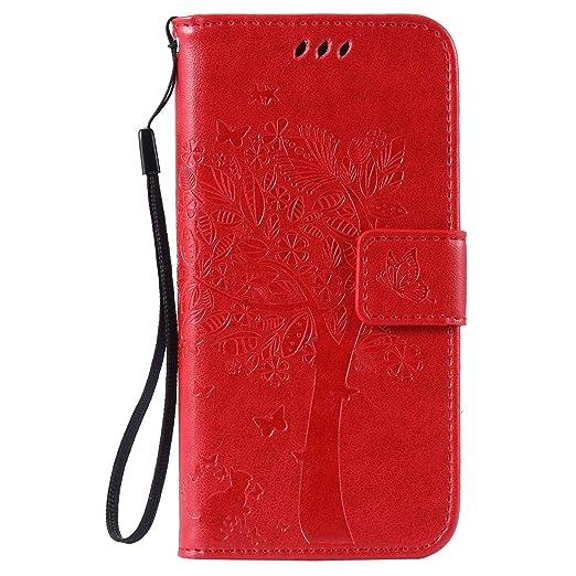 pinlu Flip Funda de Cuero para Xiaomi Mi5 Carcasa con Función de Stent y Ranuras con Patrón de Gato y Árbol Cover (Rojo)