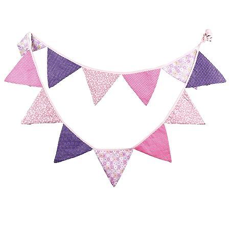 dreammadestudio Pink & Purple Vintage Fabric Floral Bunting Banner ...