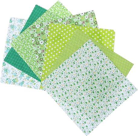 Artibetter - 7 piezas de tela de algodón para parches, cuadrados, costura, manualidades, tela floral, color verde, tela de algodón, verde, 7PCS: Amazon.es: Hogar