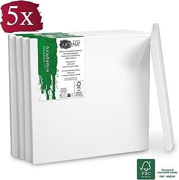 561-20x20*4-0,25 Chely Intermarket lienzos para pintar 20x20 cm Juego de 4 Lienzos pre-estirados 37 mm borde profundo 280 grs//Apto para /Óleo acr/ílico//100/% Algod/ón//Color Blanco//Triple Preparado