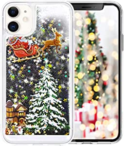 Fusicase for iPhone 11 Pro Glitter Case Cute Merry Christmas Bling Liquid Floating Sparkle Shiny Luxury Protective Cover Rudolph Santa Claus Deer Tree Pattern Case for iPhone 11 Pro Black