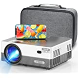 """MOOKA Q6 Native 1080P WiFi Bluetooth Projector,Upgraded 8500L HD Video Projector with Carrying Bag,Support 4K &300""""Display,Ho"""