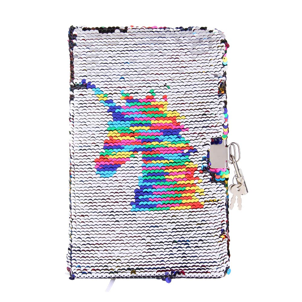 Sequin Notebook - PojoTech Mermaid Reversible Sequin Journal – Magic Travel Journal Notebook Gift for Adults and Kids (Rainbow Unicorn with Lock) by POJO TECH (Image #2)