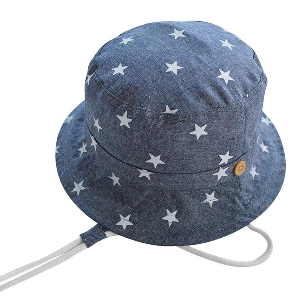 Tangda Chapeaux de Soleil Bob Hat Protection Bonnet avec Cordon Coton Bord Bleu étoile Bébé Fille Garçon 46-52CM 9mois-6ans optique