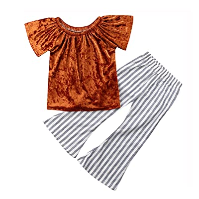 Penpell 2Pcs Newborn Baby Infant Girls Clothes Set Yellow Off-Shoulder Gold Velvet Tops and Stripe Woven Flared Trousers Pant