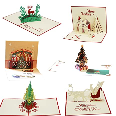 Amazon coolrunner creative 3d christmas cards pop up handmade coolrunner creative 3d christmas cards pop up handmade holiday greeting cards gifts 6 pcs cards m4hsunfo