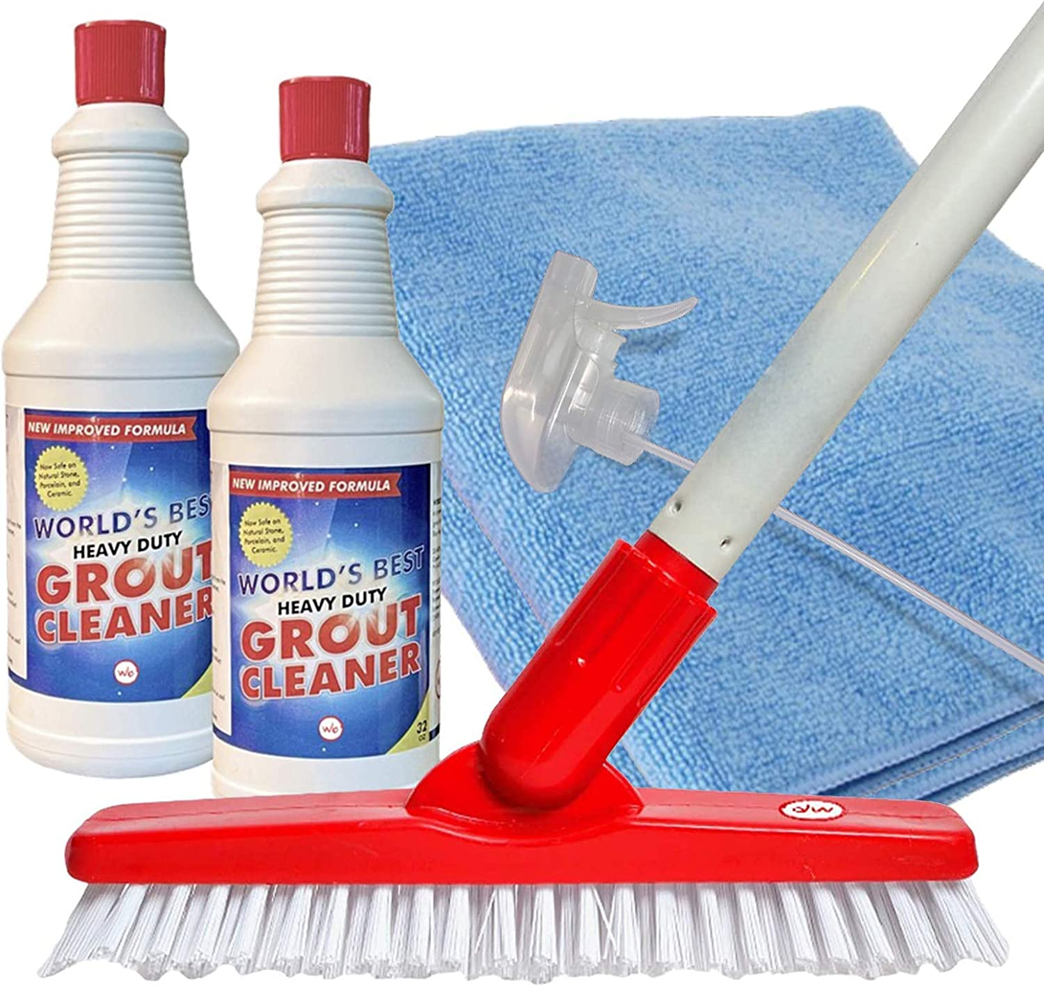 World's Best Heavy-Duty Grout Cleaning Kit   Grout Cleaner, Brush Scrubber with Adjustable Pole Handle, Microfiber Cloth, Spray Bottle   Safe for Ceramic & Porcelain Tiles   Cleans Dirt, Mould, Stains