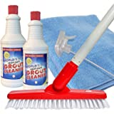 World's Best Heavy-Duty Grout Cleaning Kit | Grout Cleaner, Brush Scrubber with Adjustable Pole Handle, Microfiber Cloth, Spr