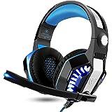 ARINO Cuffie Gaming Gamer Headset Cablate con LED per Video Gioco USB 3.5mm Altoparlante 50mm per Iphone7/6S/6Plus/Ipad/PS4/XBOX One/PC Windows XP/7/8/8.1/10/Tablet Cellulare Colore Blu Versione Avanzata