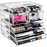 GLAMSMACKED ® Professional Clear Acrylic 7 Drawer Cosmetic Organiser – Perfect for Storing, Organising and Displaying all of your Make Up, Nail Polish, Varnish, Arts and Crafts, Brush Sets, and Jewellery - High Quality and Study Acrylic Construction and Easy Grip Handles