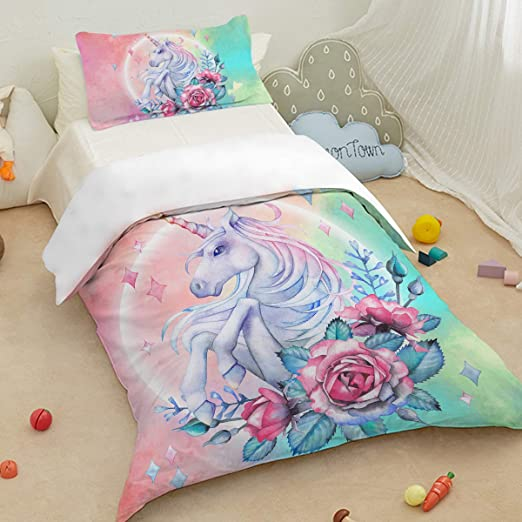 Pink Unicorn Bed Covers 3 Pieces Purple Aqua Horse Flower Bedding Queen Fashion