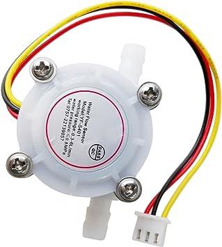 BMYUK 0.3-6L/Min 5-24V Sensor Hall de flujo de agua Caudalimetro ...