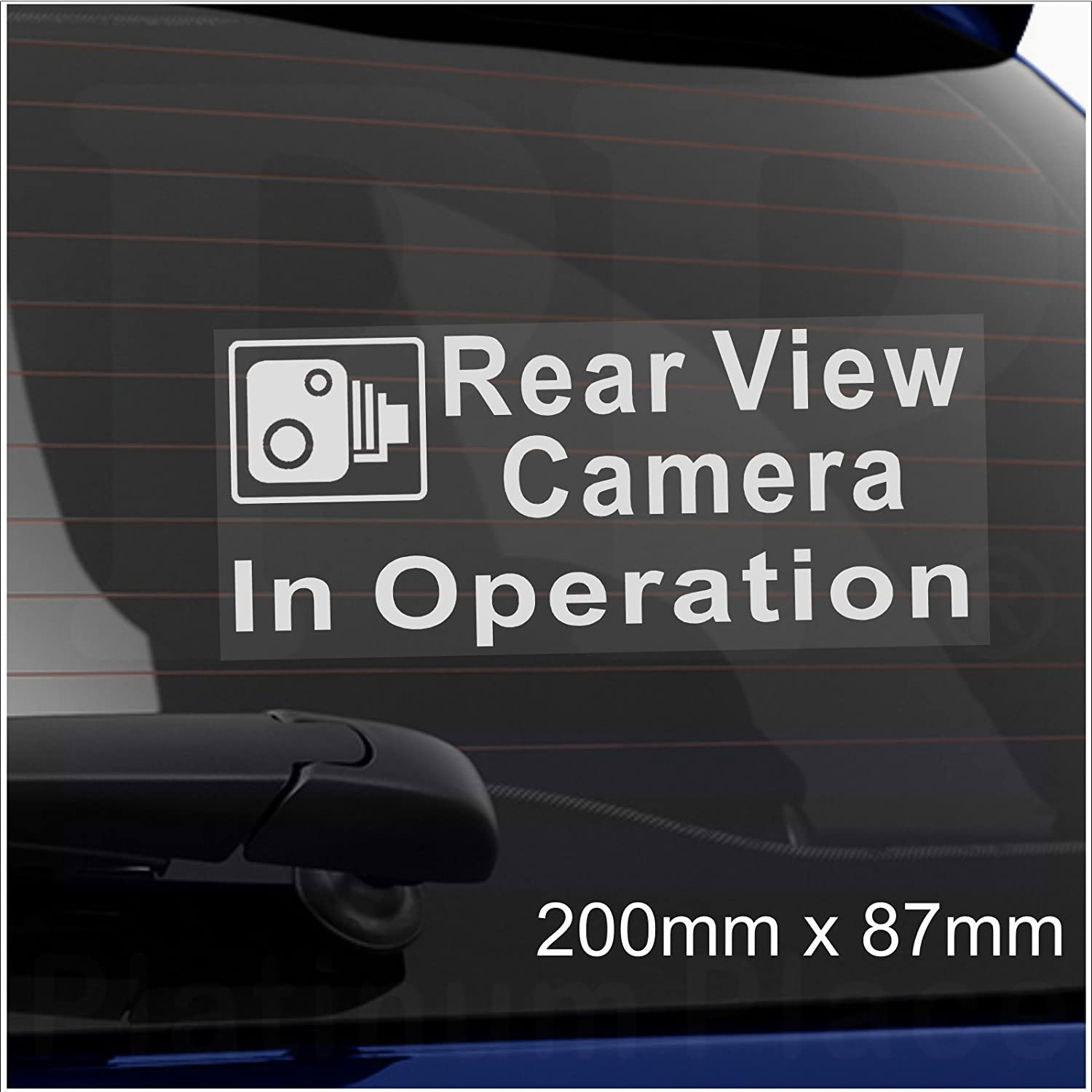 Platinum Place 1 x Rear View Camera In Operation-Window CCTV Sticker-200mm-Security Sign-Car,Van,Lorry,Truck,Taxi,Bus,Mini Cab,Minicab-Dashcam