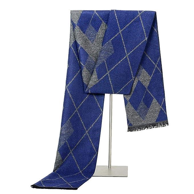 eace886861 ANAZOZ Niño Hombre Bufanda de Lana Artificial Grid Azul 180cm Otoño Invierno  Bufanda de Clima Frío