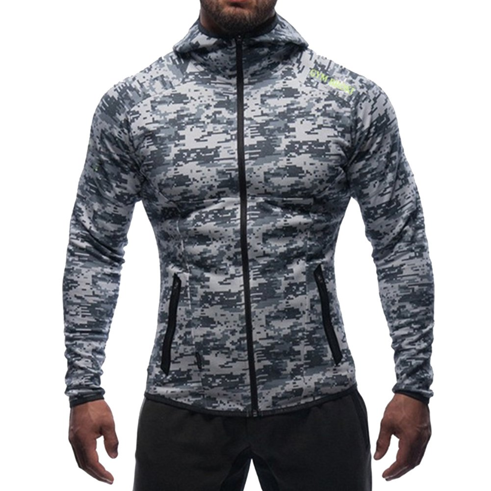 Broki Mens Gym Zip Hoodie Sweatshirts, Workout Bodybuilding Fitted Muscle Slim Fit Hoody Jacket With Pockets