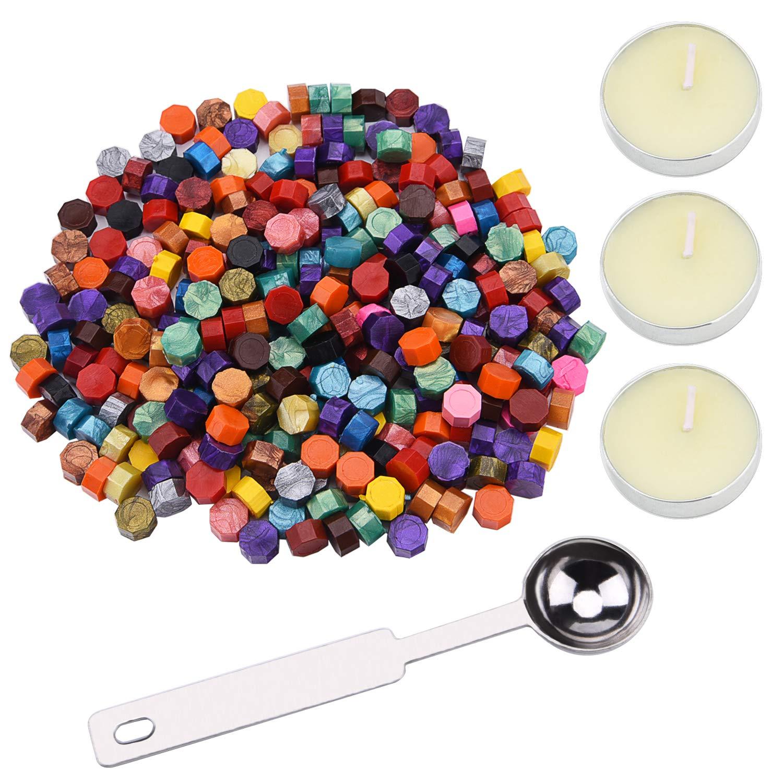 Sunmns - Juego de 250 perlas de cera octogonales con 3 velas y cuchara de cera para sellar sellos de cera SunmnDirect