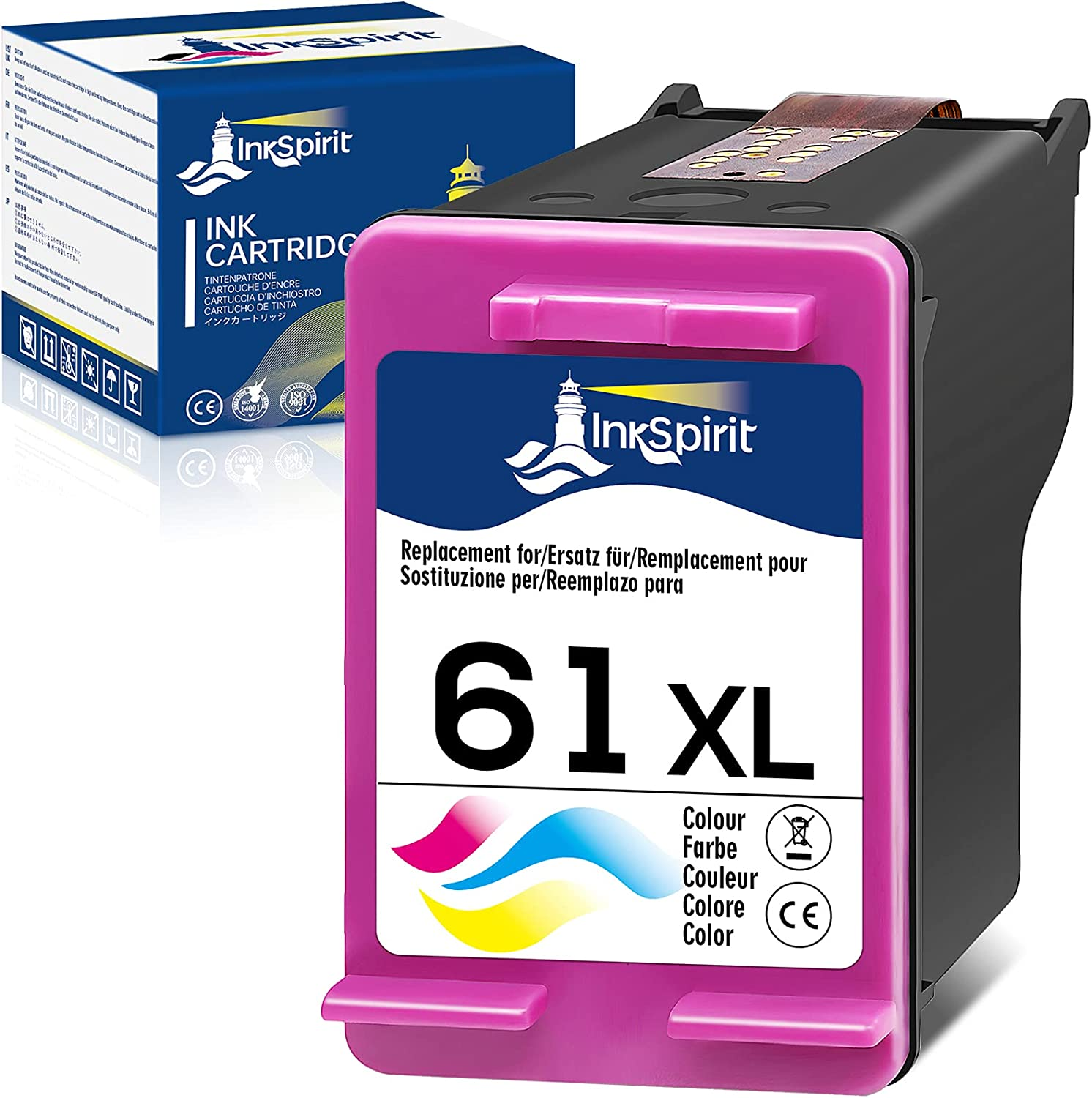 InkSpirit Remanufactured Ink Cartridge 61 Replacement for HP 61XL 61 XL Tri-Color Used in Envy 4500 4502 5530 OfficeJet 4630 DeskJet 2512 1512 2542 2540 2544 3000 3052a 1055 3051a 2548 (1-Pack)