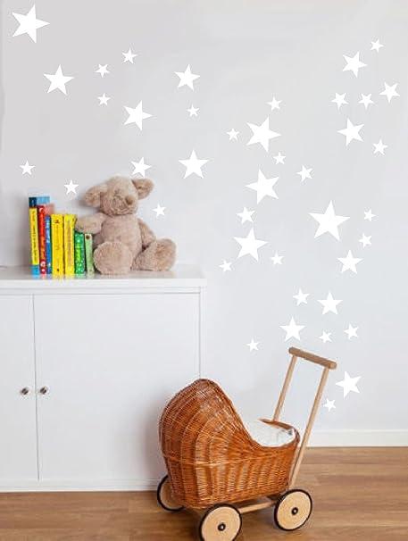 55 mixtes Taille étoiles Stickers muraux Autocollant Kid Art Chambre  d\'enfant Décoration chambre à coucher en vinyle - blanc
