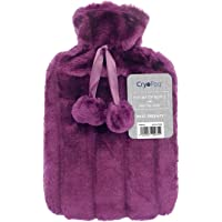 Cryopaq Luxury Hot Water Bottle with Best Plush Faux Fur Cover 2L 2 Litre Liter (Purple)