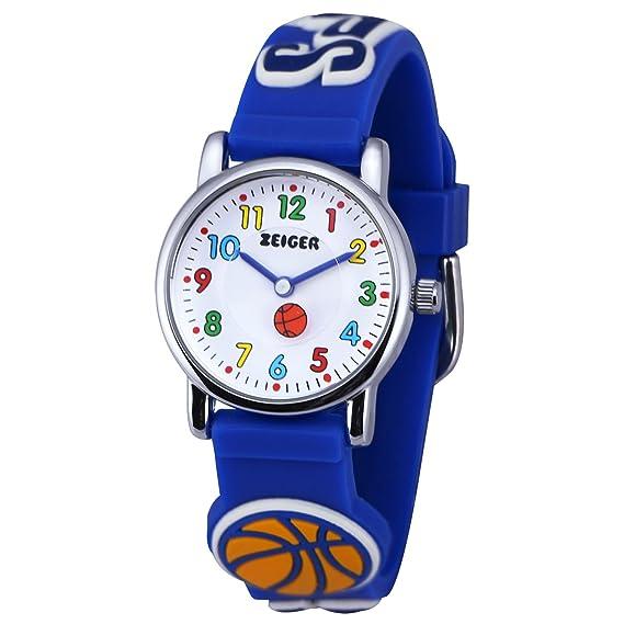 Reloj Nino Zeiger Reloj infantil 3D para aprender la hora correa de silicona diseño tridimensional de balones color azul KW042: Zeiger: Amazon. es: Relojes