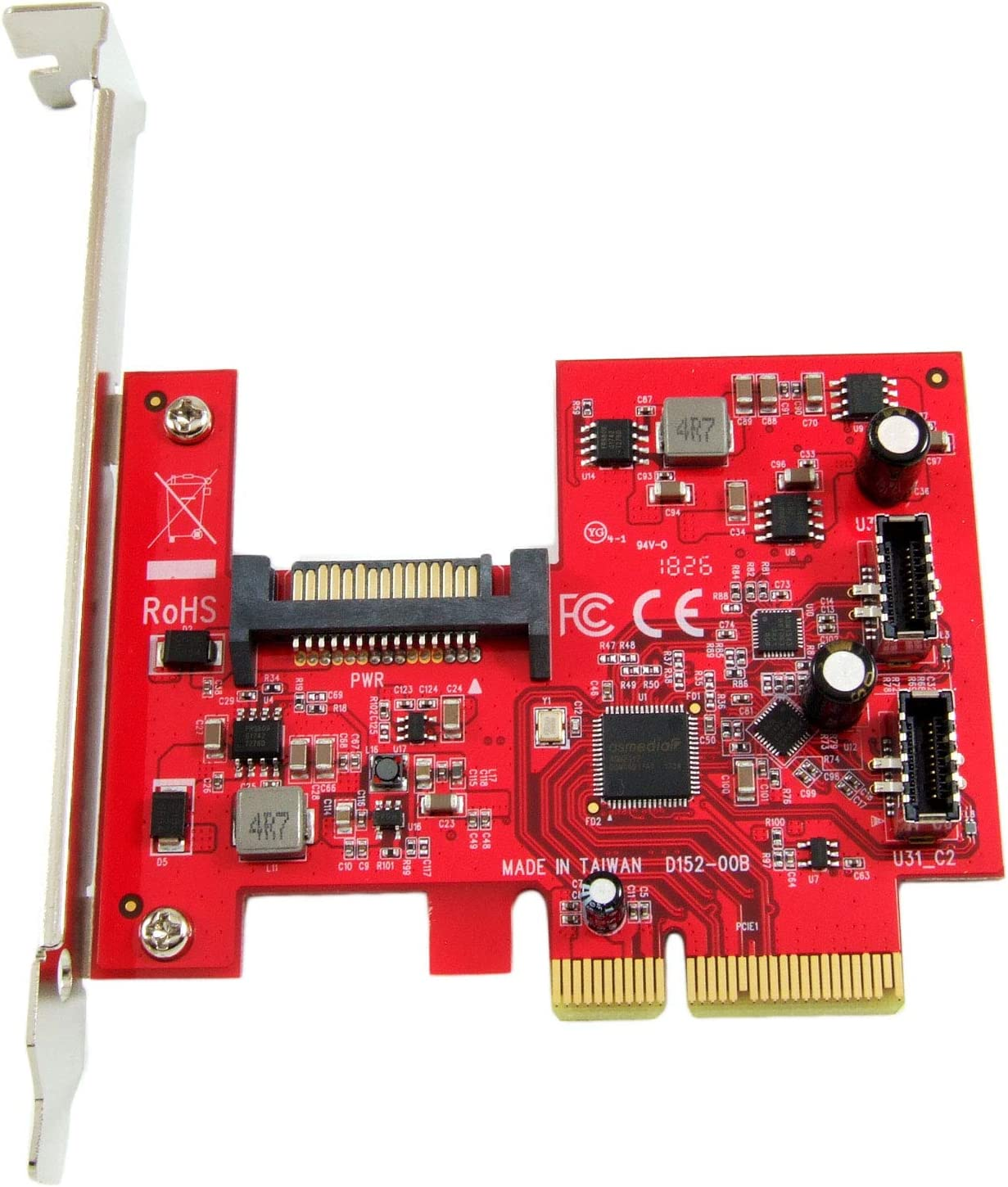 huicouldtool USB 3.1 PCI-Express Card with Dual Reversible Type-C Ports 5V 15-Pin Connector Gen 2 10 Gbps Add on Card