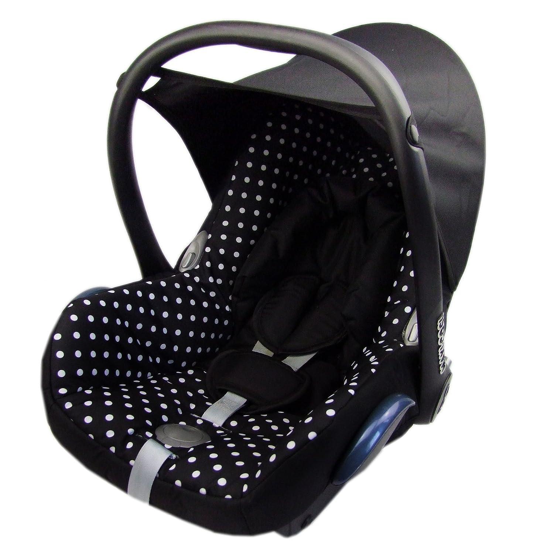 BAMBINIWELT Ersatzbezug für Maxi-Cosi CabrioFix 6-tlg, Bezug für Babyschale, Komplett-Set SCHWARZ WEISSE PUNKTE *NEU* Bezug für Babyschale