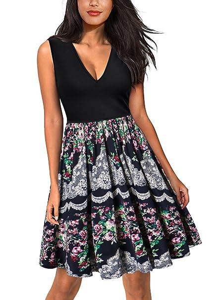 DILANNI Women Summer Print Beach Dress Plus Size Long Casual Bohemian  Dresses