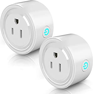 Smart Wifi Plug, Smart Outlet Plug Socket Compatible with Alexa and Google Home, Mini Socket with Remote Control & Voice Control and Timer Function, No Hub Required, 2 Pack