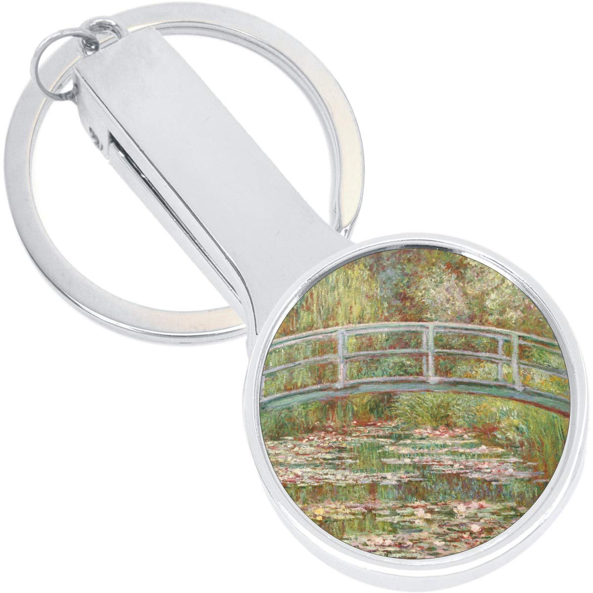 Monet Bridge Painting Color Purse Hanger with Keychain