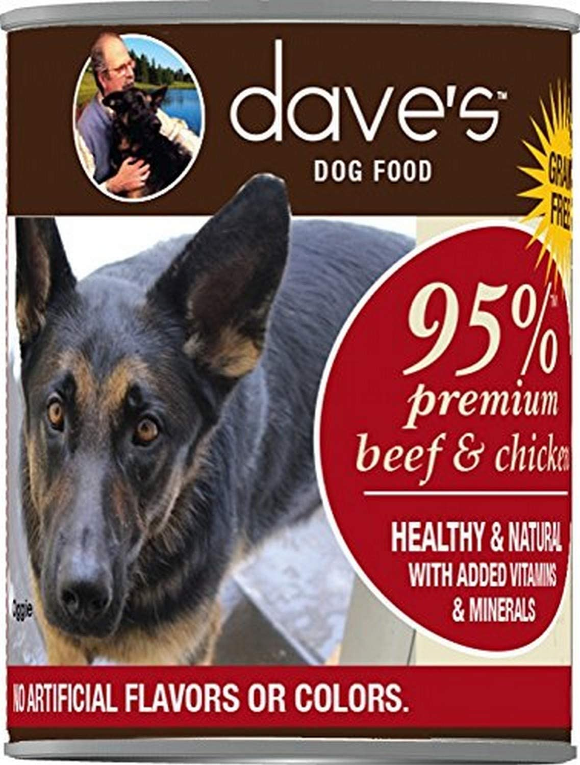 Dave's Premium Beef & Chicken 95% Meat for Dogs, 13 Oz Can (Case of 12)