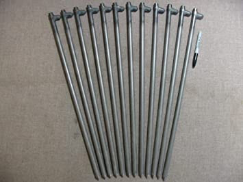 A 12 Pack of Heavy Duty Steel Tent Stakes... 24u0026quot; Long & Amazon.com : A 12 Pack of Heavy Duty Steel Tent Stakes... 24