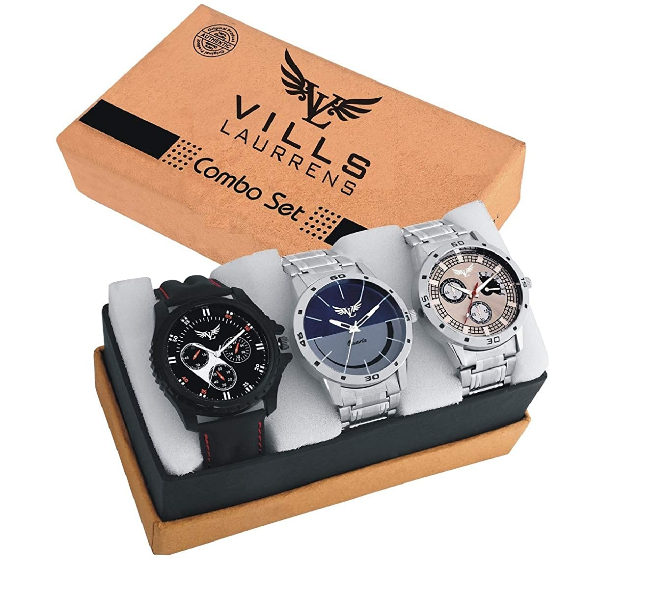 Vills Laurrens Analogue Multicolor Dial Combo Of 3 Men's &
