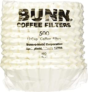 Bunn 20115.0000 1000 Count 12 Cup Commercial Coffee Brewer Filters, White (1000)