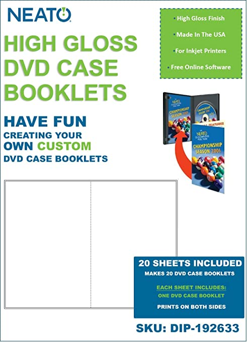 amazon com neato high gloss dvd case booklet 20 sheets to make