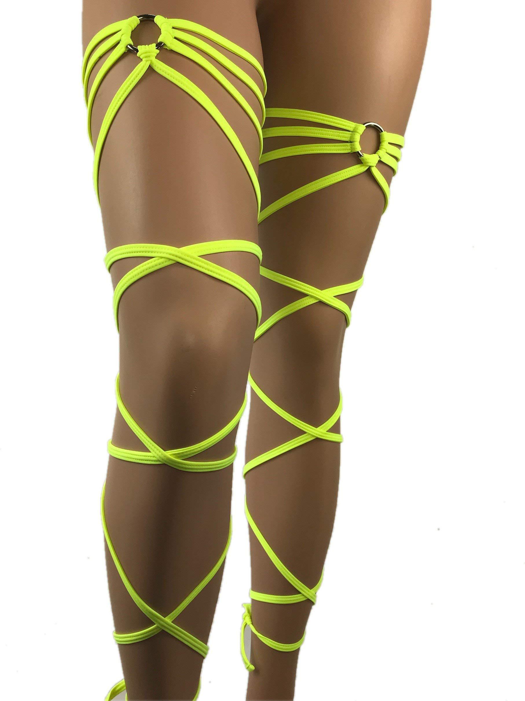 Exotic Dancewear Leg Wraps Rave neon glow UV Gartinis Garter Outfits Club Style Women's Intimates Rave Fashion Garter Club wear Rave Girl