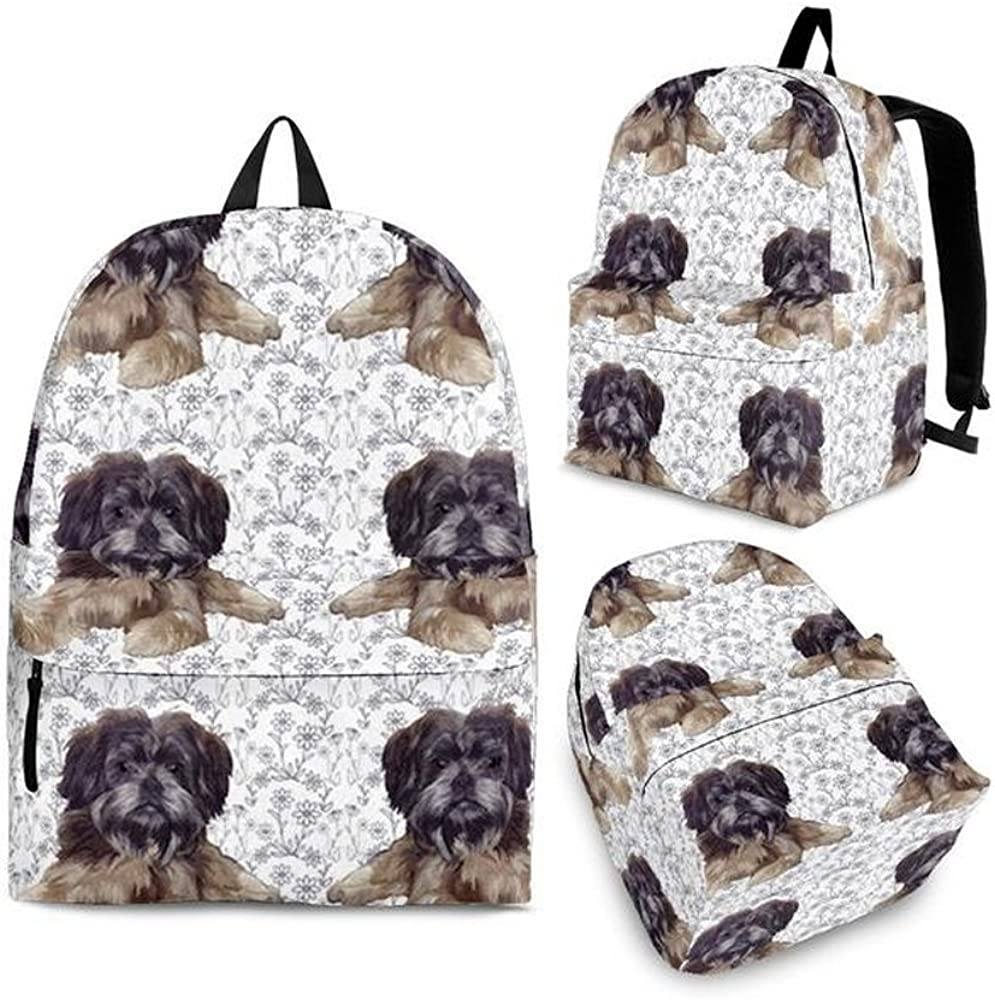 Cute Affenpinscher Print Backpack Set For Kids and Girls